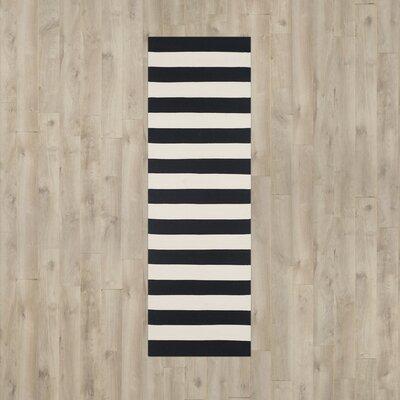 Ona Hand-Woven Black / Ivory Area Rug Rug Size: Runner 23 x 8