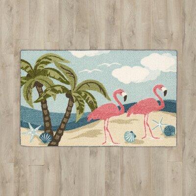 Ines�Aqua Flamingos Area Rug