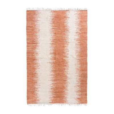 Anchor Lane Hand-Woven Cotton Orange/White Area Rug Rug Size: Rectangle 3 x 5