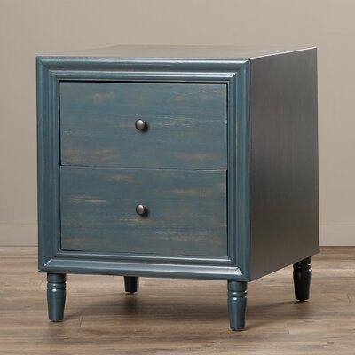 Plainville 2 Drawer Nightstand Color: Steel Teal