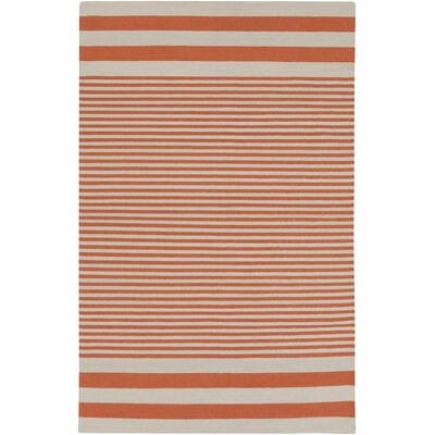 Kinslee Rust Stripe Area Rug Rug Size: Rectangle 5 x 8