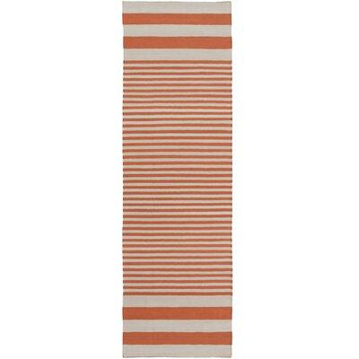 Kinslee Rust Stripe Area Rug Rug Size: Runner 26 x 8