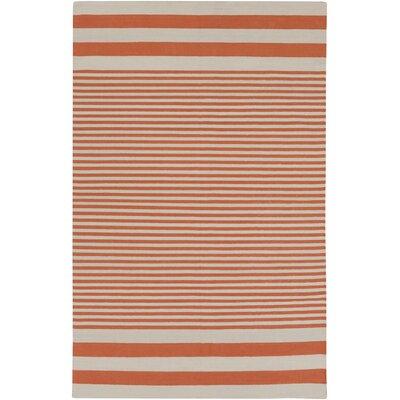 Kinslee Rust Stripe Area Rug Rug Size: 5 x 8