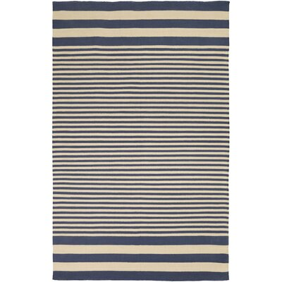 Kinslee Beige/Navy Stripe Area Rug Rug Size: Rectangle 8 x 11