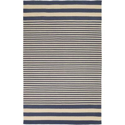 Kinslee Beige/Navy Stripe Area Rug Rug Size: 8 x 11