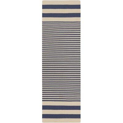 Kinslee Beige/Navy Stripe Area Rug Rug Size: Runner 26 x 8