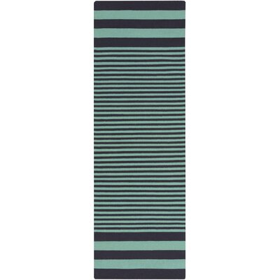 Kinslee Stripe Black/Teal Area Rug Rug Size: Runner 26 x 8