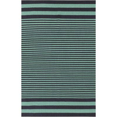 Kinslee Stripe Black/Teal Area Rug Rug Size: Rectangle 5 x 8