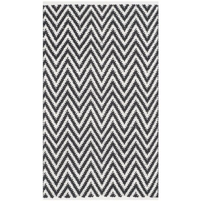Whitton Hand-Woven Black/Ivory Area Rug Rug Size: Rectangle 23 x 39