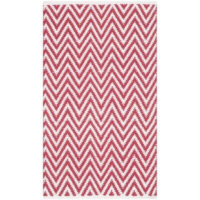 Whitton Hand-woven Red/Ivory Area Rug Rug Size: 5' x 8'