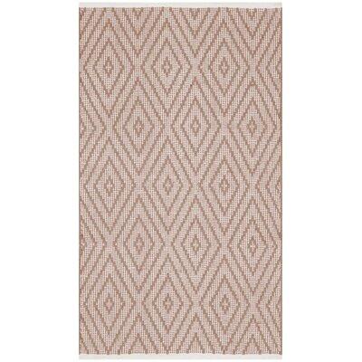 Adelia Hand-Woven Beige/Ivory Area Rug Rug Size: 23 x 39