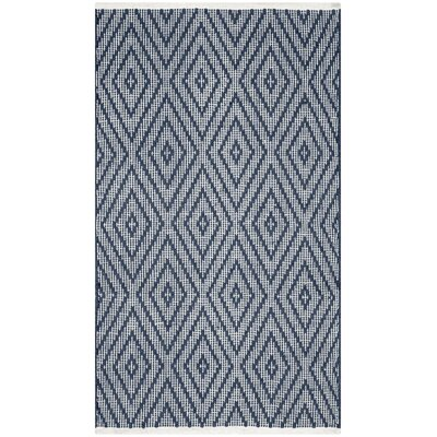 Adrien Place Hand-Woven Navy & Ivory Area Rug Rug Size: Rectangle 5 x 7