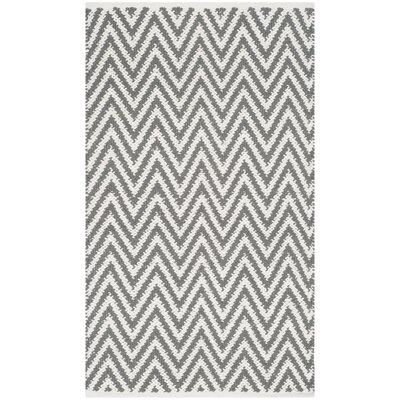Adelina Hand-Woven Grey / Ivory Area Rug Rug Size: 3' x 5'