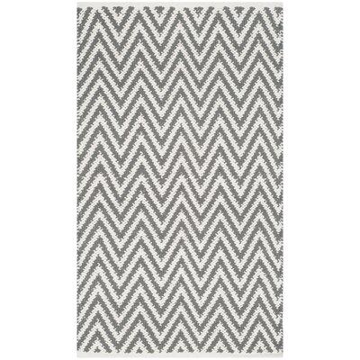 Adelina Hand-Woven Grey/Ivory Area Rug Rug Size: 5 x 7