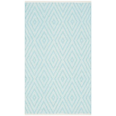 Aime Hand-Woven Turquoise/Ivory Area Rug Rug Size: 23 x 39
