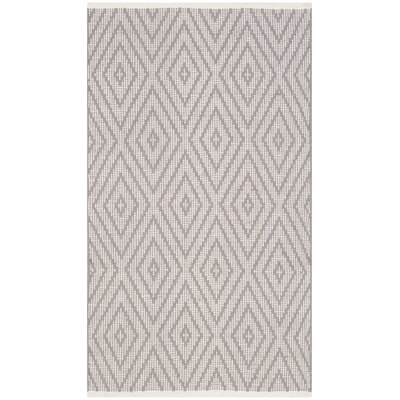 Ludowici Hand-Woven Grey/Ivory Area Rug Rug Size: 5 x 8