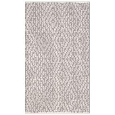 Ludowici Hand-Woven Grey/Ivory Area Rug Rug Size: 5 x 7
