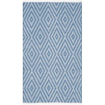 Leeds Hand-Woven Blue / Ivory Area Rug Rug Size: Runner 23 x 7
