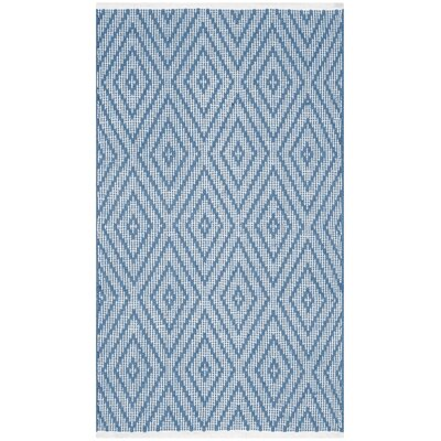 Leeds Hand-Woven Blue / Ivory Area Rug Rug Size: 23 x 39