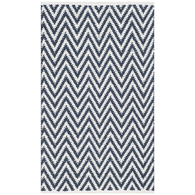 Whitton Hand-Woven Navy/Ivory Area Rug Rug Size: Rectangle 4 x 6