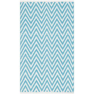 Whitton Hand-Woven Turquoise/Ivory Area Rug Rug Size: 23 x 39