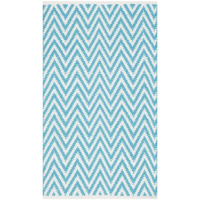 Whitton Hand-Woven Turquoise/Ivory Area Rug Rug Size: 5' x 7'