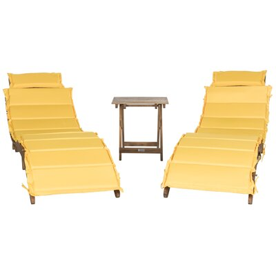 Salma 3 Piece Lounge Set with Cushion Fabric: Yellow