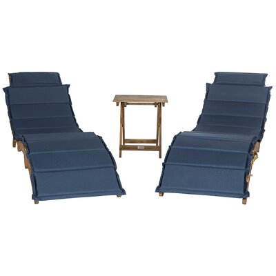 Salma 3 Piece Lounge Set with Cushion Fabric: Navy