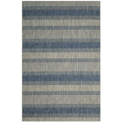 McCall Gray/Navy Indoor/Outdoor Area Rug Rug Size: 6'7