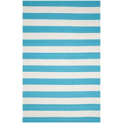 Montauk Turquoise & Ivory Area Rug Rug Size: 6 x 9