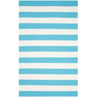 Montauk Turquoise & Ivory Area Rug Rug Size: Runner 23 x 7