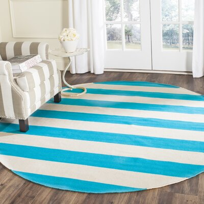 Arely Turquoise/Ivory Area Rug Rug Size: Round 6