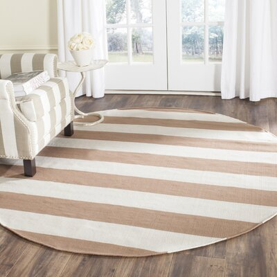 Sky Hand-Woven Sand/Ivory Area Rug Rug Size: Round 6