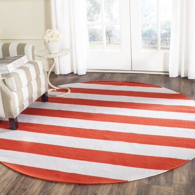 Lillianna Hand-Woven Cotton Rust/Ivory Area Rug Rug Size: Round 6