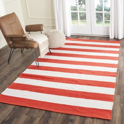 Lillianna Hand-Woven Cotton Rust/Ivory Area Rug