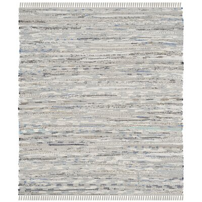 Havelock Striped Contemporary Hand-Woven Gray Area Rug Rug Size: Square 4'