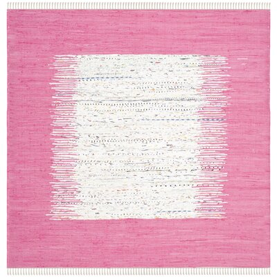 Static Hand-Woven Wool Pink/White Area Rug Rug Size: Square 6