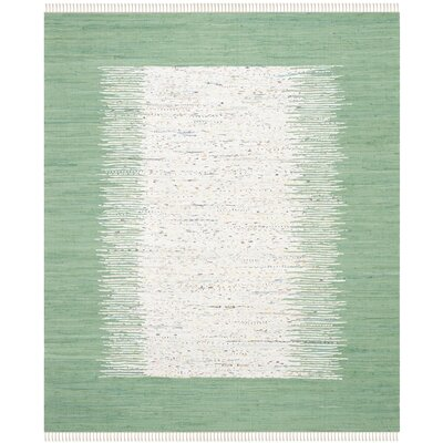 Milia Hand-Woven Ivory/Sea Green Area Rug Rug Size: Rectangle 4 x 6