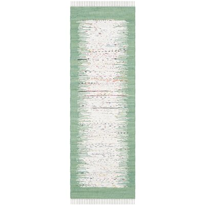 Milia Hand-Woven Ivory/Sea Green Area Rug Rug Size: Runner 23 x 7
