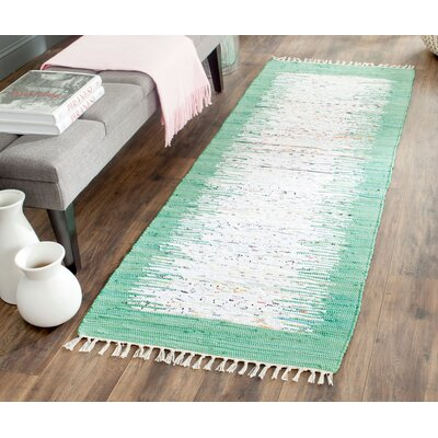 Milia Hand-Woven Ivory/Sea Green Area Rug Rug Size: Runner 23 x 9