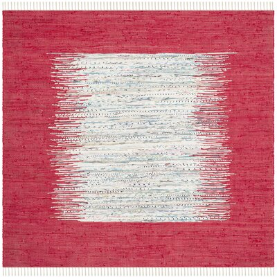 Milena Hand-Woven Ivory/Red Area Rug Rug Size: Square 4