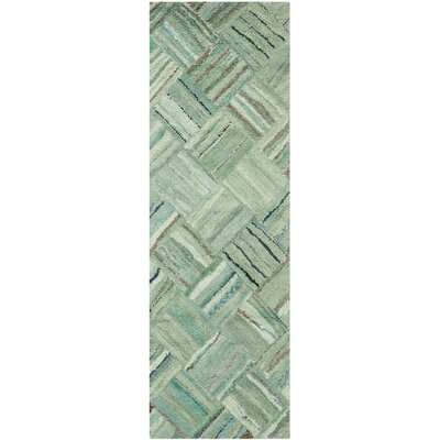 Millia Hand-Tufted Green Area Rug Rug Size: Runner 23 x 13