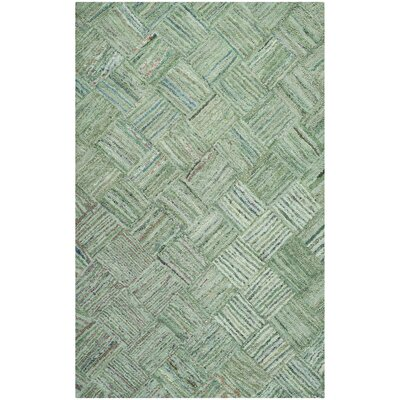 Upton Hand-Tufted Green Area Rug Rug Size: 5 x 7