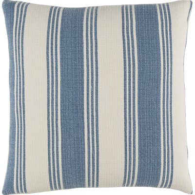 Douglasville Cotton Throw Pillow Size: 22 H x 22 W x 4 D, Color: Cobalt/Ivory