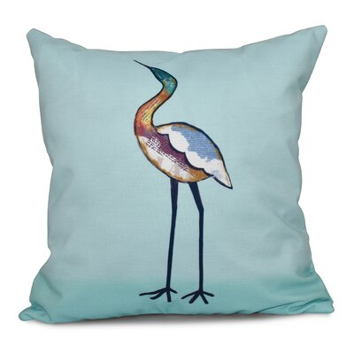 Beach Vacation Bird Animal Print Throw Pillow Size: 26 H x 26 W, Color: Aqua