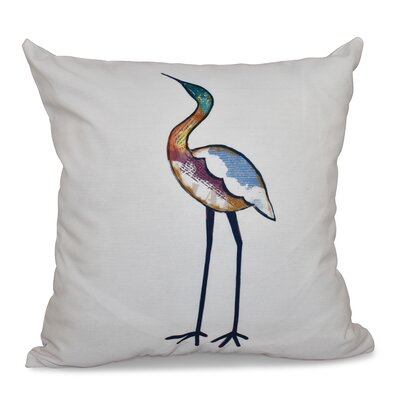 Beach Vacation Bird Animal Print Throw Pillow Size: 26 H x 26 W, Color: White
