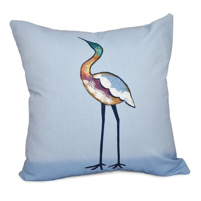 Beach Vacation Bird Animal Print Throw Pillow Color: Blue, Size: 26 H x 26 W