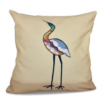 Beach Vacation Bird Animal Print Throw Pillow Size: 16 H x 16 W, Color: Yellow