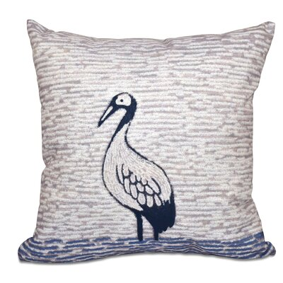 Beach Vacation Bird Watch Animal Print Throw Pillow Size: 26 H x 26 W, Color: Purple