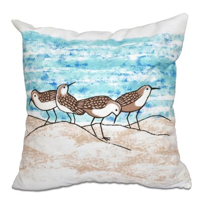 Boubacar Sandpipers Animal Print Throw Pillow Size: 16 H x 16 W, Color: Taupe/Beige